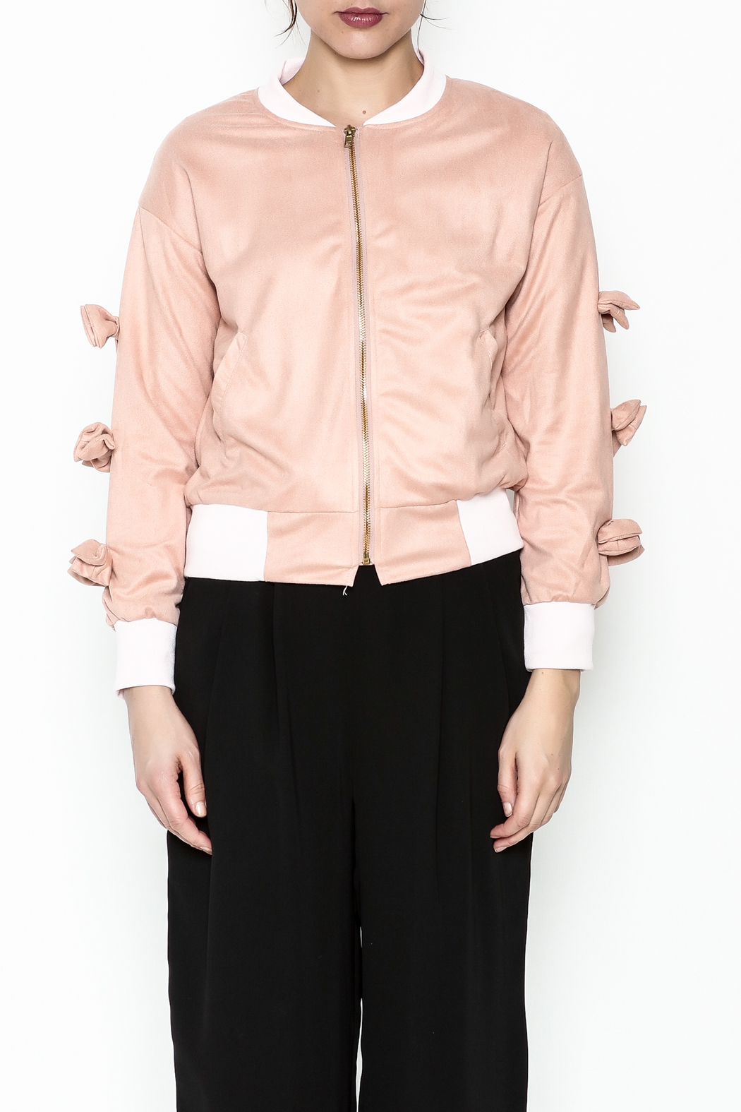 Fashion Pickle Pink Bow Jacket - Front Full Image
