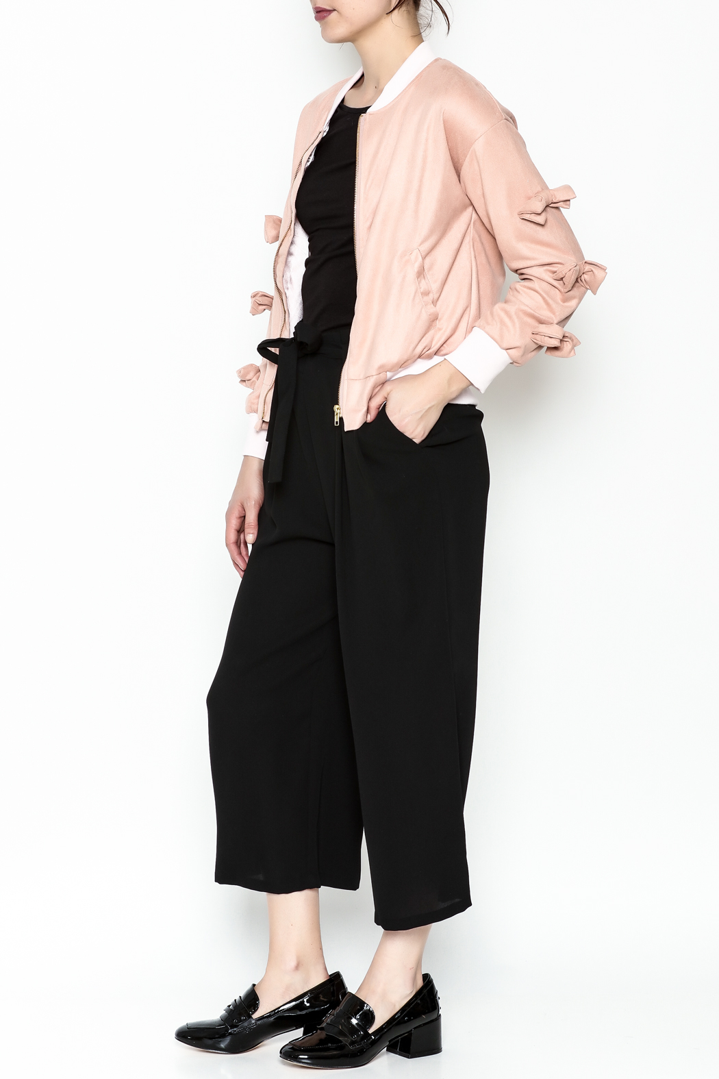 Fashion Pickle Pink Bow Jacket - Side Cropped Image