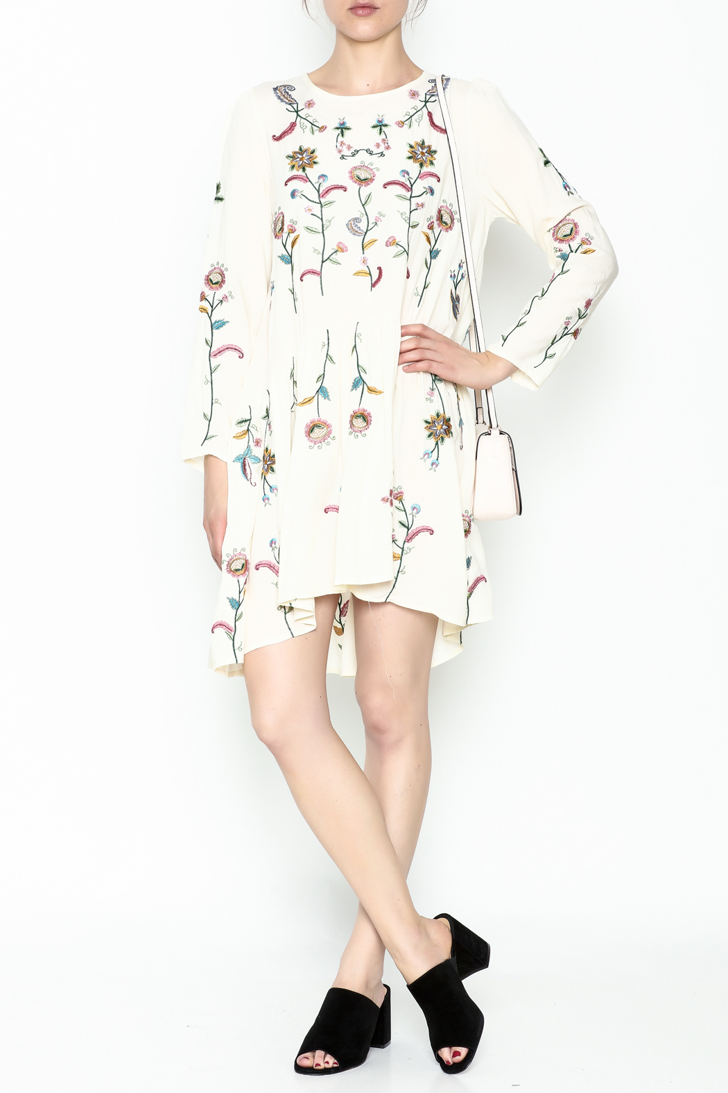 Fashion Pickle Raga Embroidered Dress - Side Cropped Image