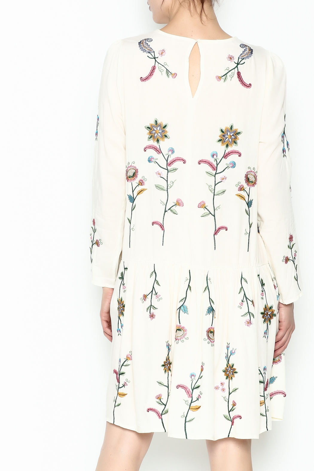 Fashion Pickle Raga Embroidered Dress - Back Cropped Image