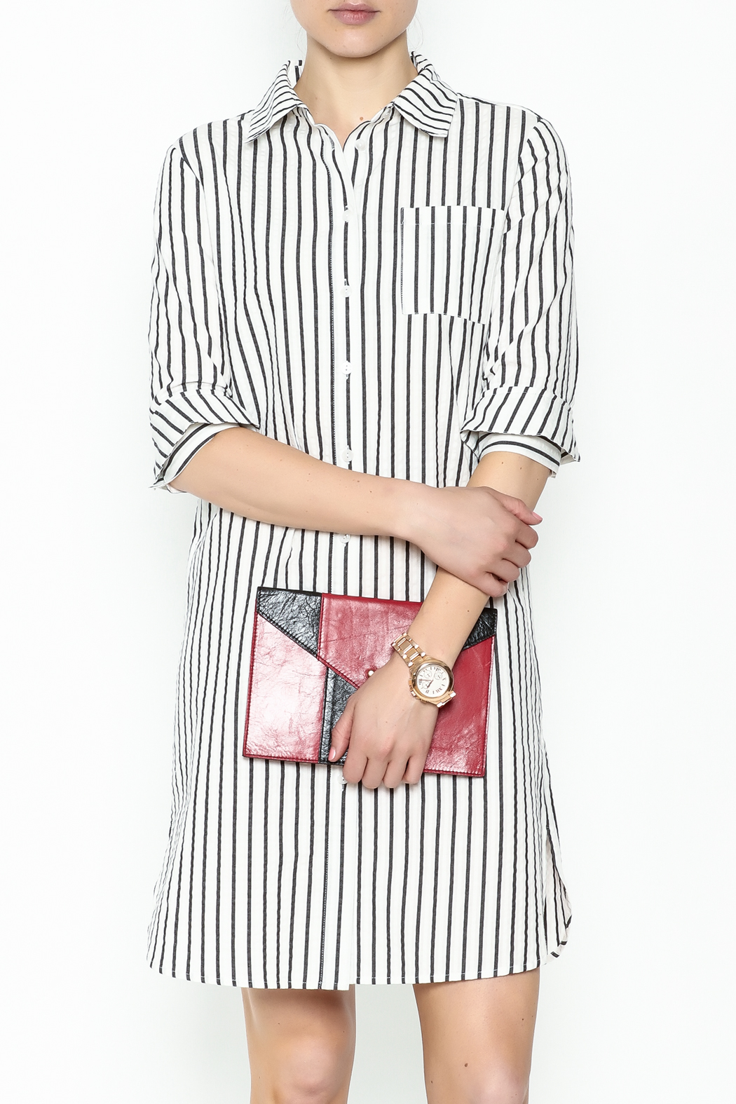 Fashion Pickle Striped Shirt Dress - Main Image