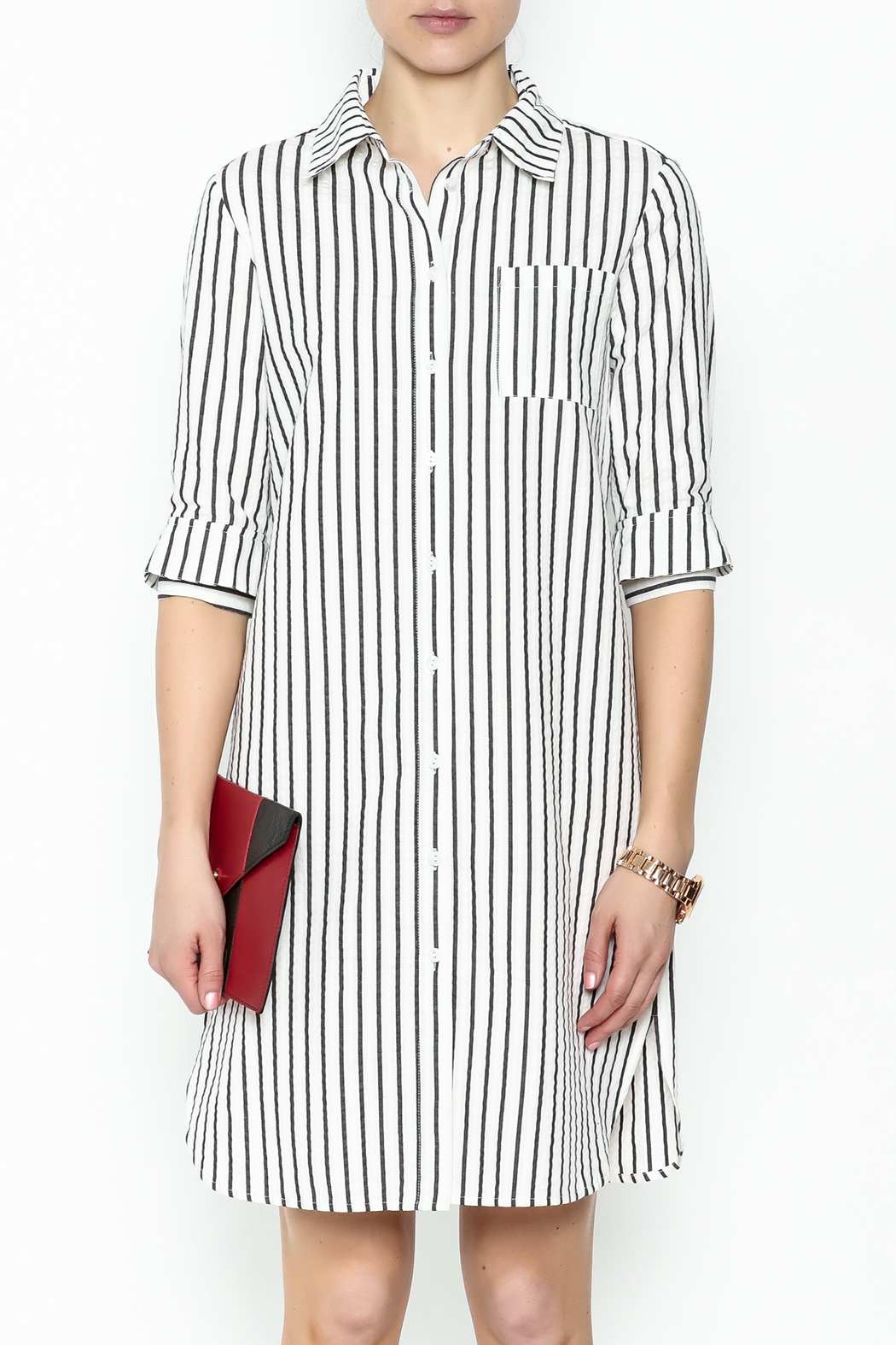 Fashion Pickle Striped Shirt Dress - Front Full Image