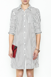 Fashion Pickle Striped Shirt Dress - Front full body