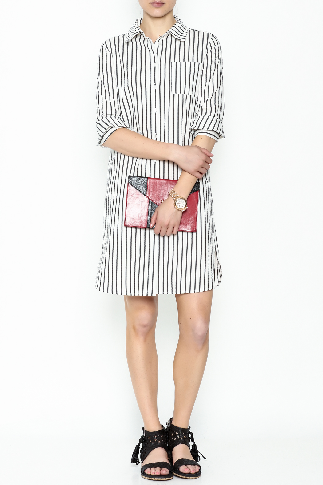 Fashion Pickle Striped Shirt Dress - Side Cropped Image