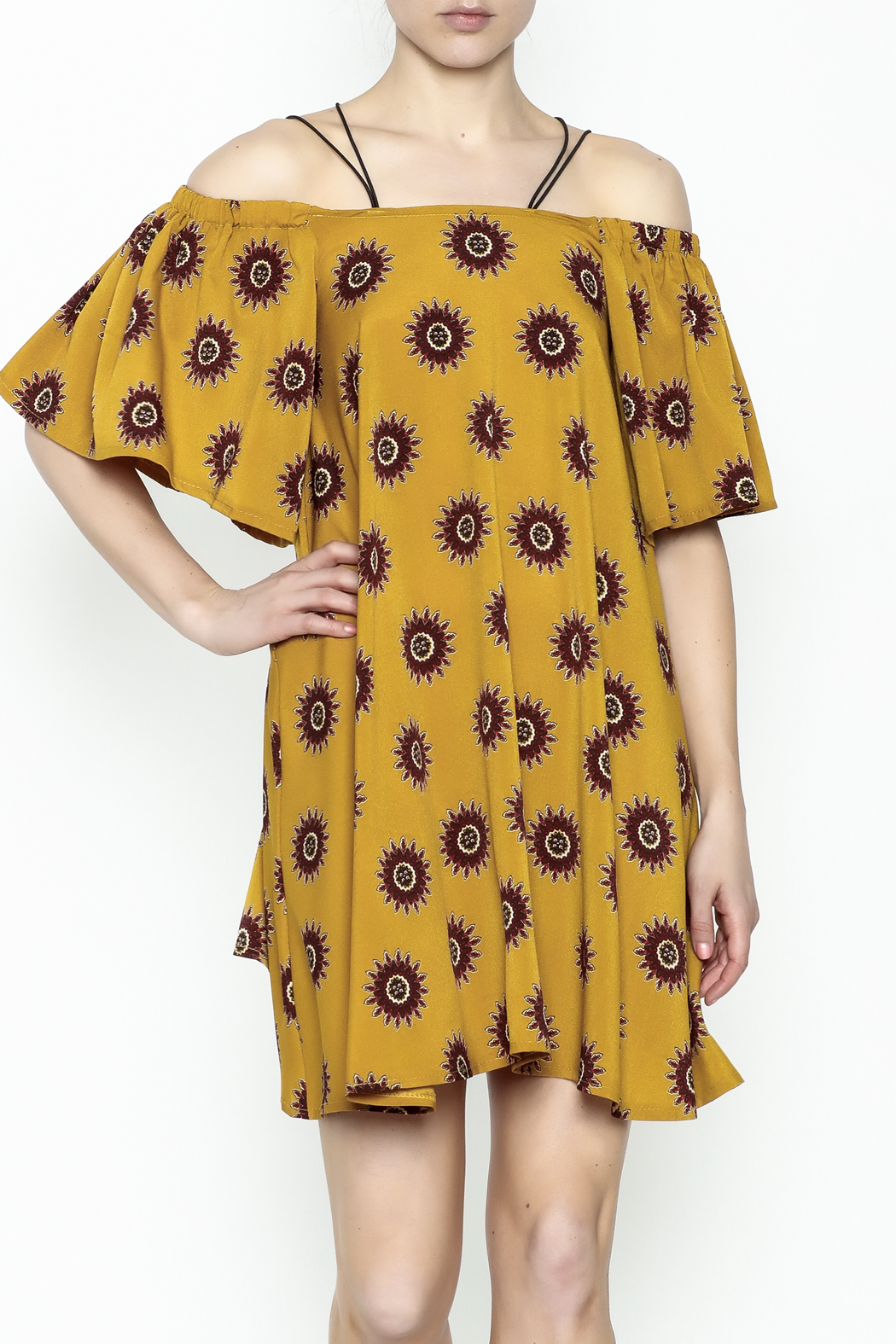 Fashion Pickle Yellow Cold Shoulder Dress - Main Image