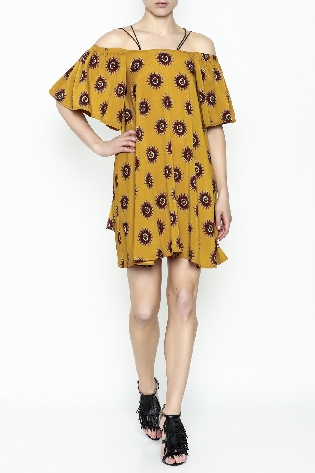 Fashion Pickle Yellow Cold Shoulder Dress - Side Cropped Image