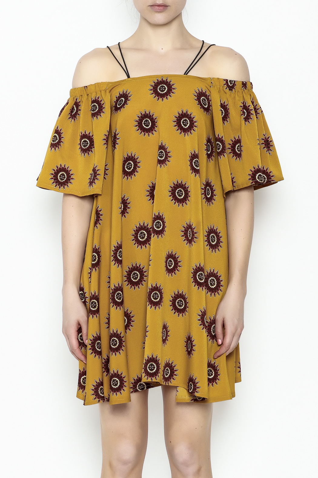 Fashion Pickle Yellow Cold Shoulder Dress - Front Full Image