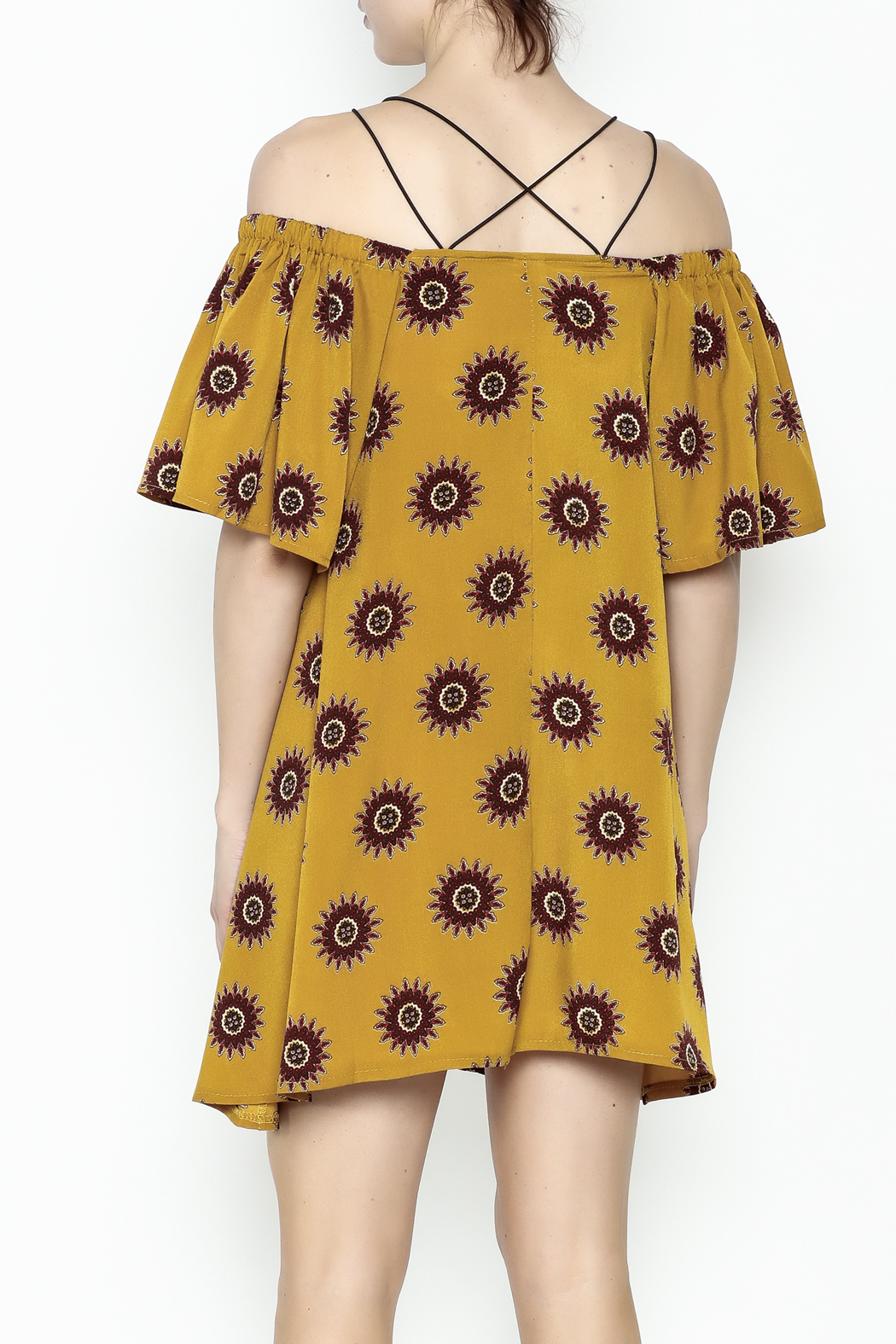 Fashion Pickle Yellow Cold Shoulder Dress - Back Cropped Image