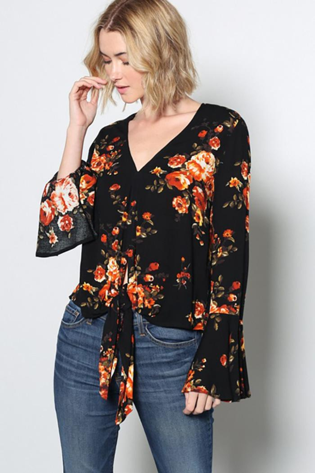Grade and Gather Fashion Printed Blouse - Side Cropped Image