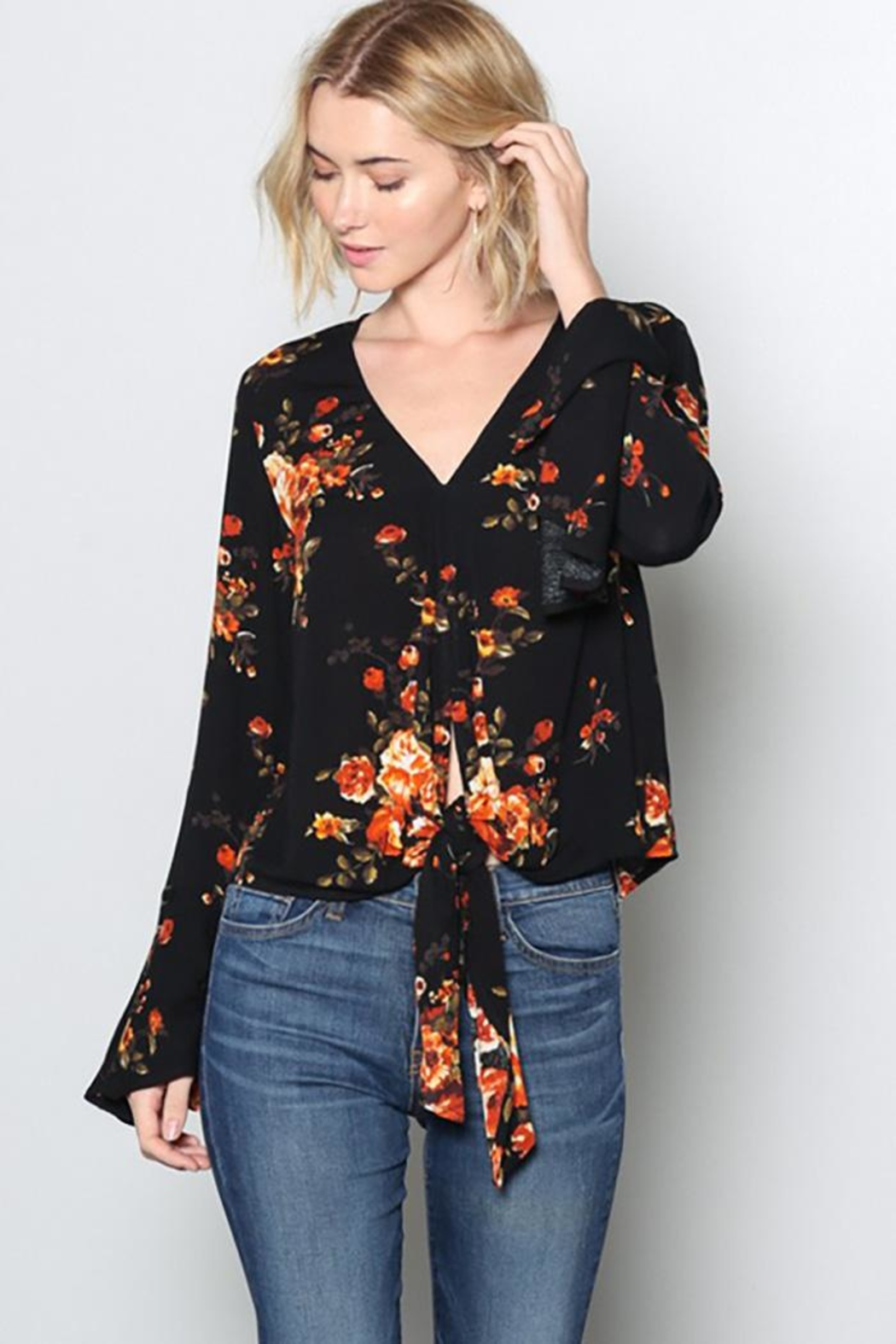 Grade and Gather Fashion Printed Blouse - Back Cropped Image