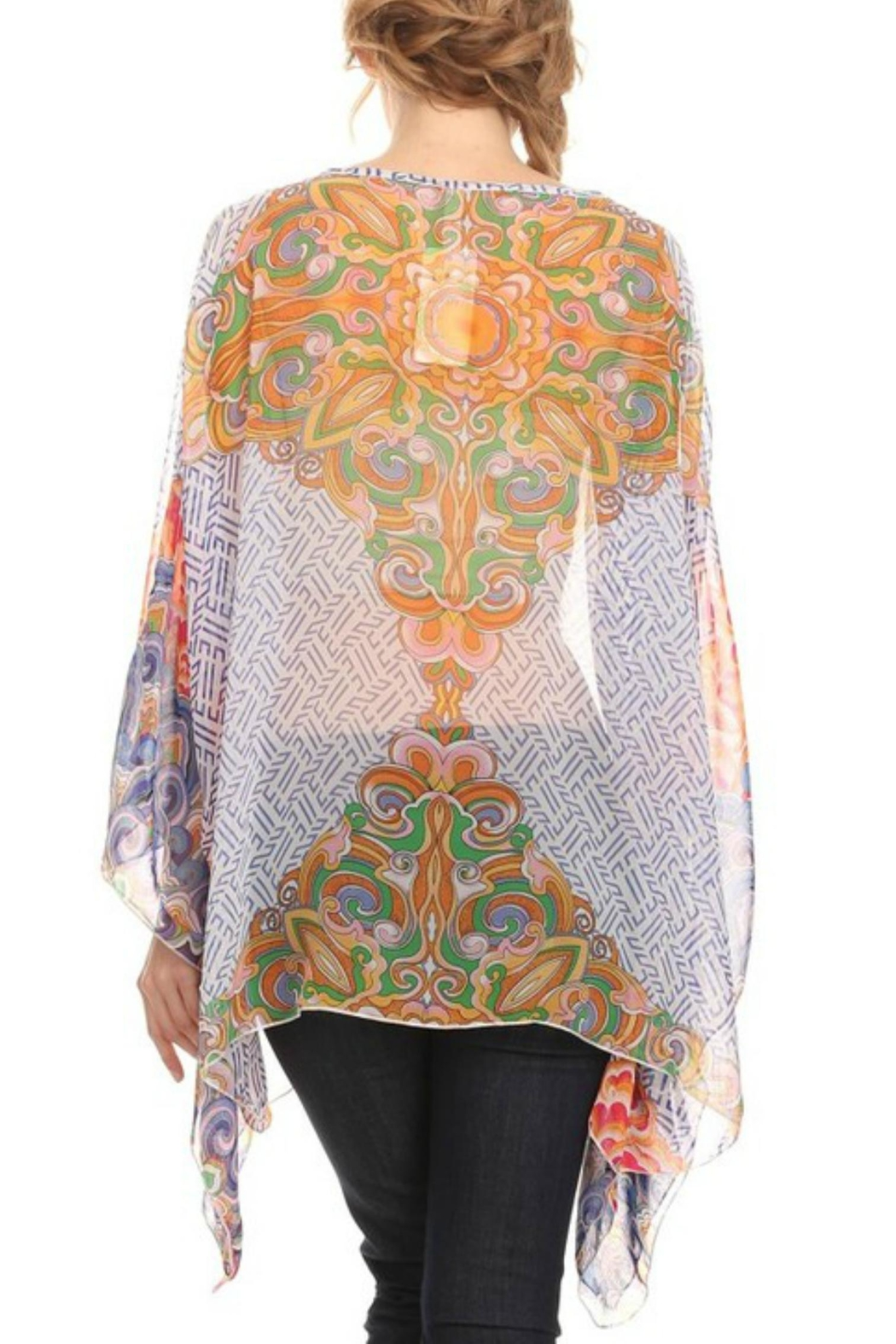 fashion 123 Bohemian Pattern Poncho - Front Full Image