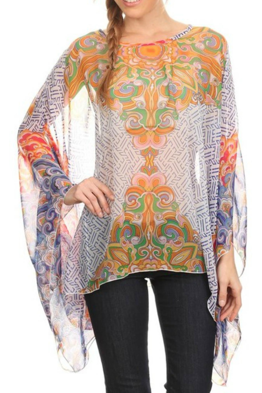 fashion 123 Bohemian Pattern Poncho - Front Cropped Image