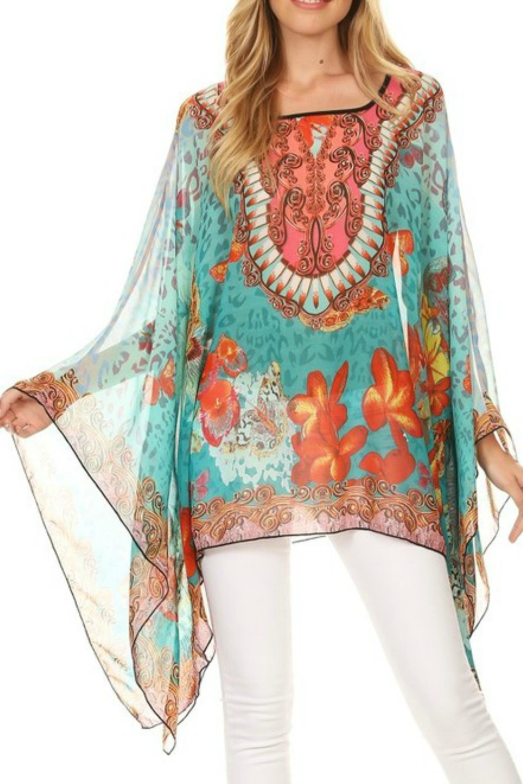 fashion 123 Butterfly  Silky Poncho - Main Image
