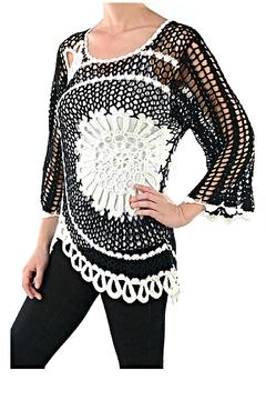 fashion 123 Crochet Scallop Sweater - Product List Image