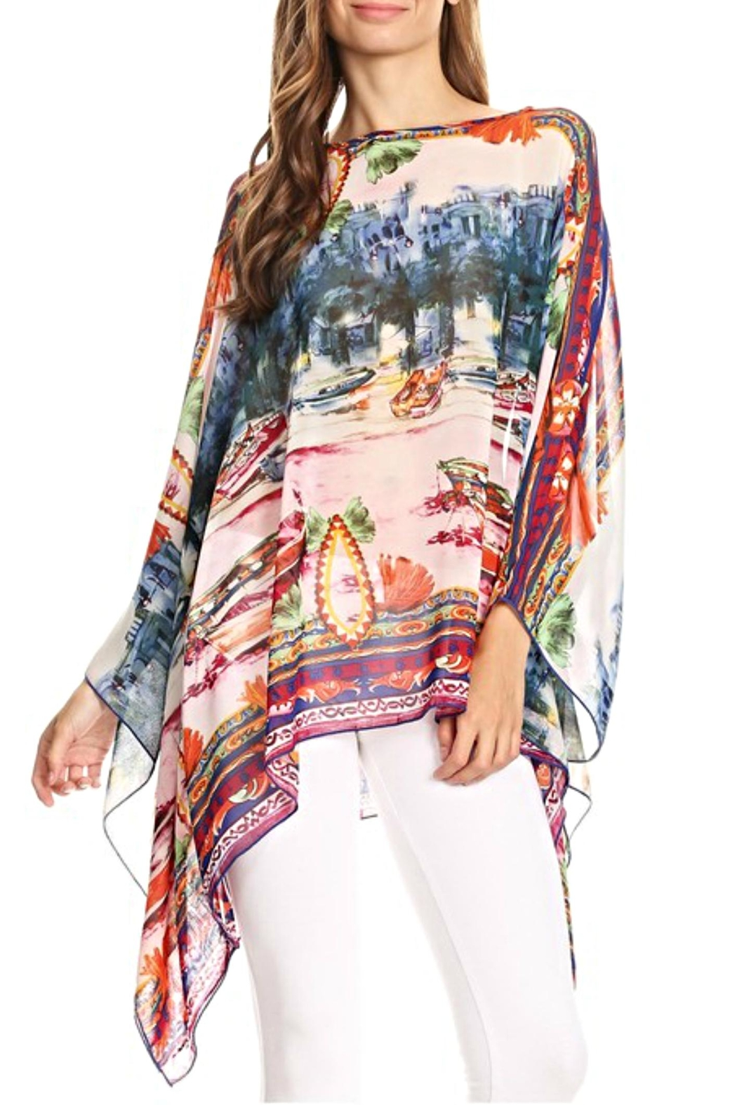 fashion 123 European Scenic Poncho Top - Front Cropped Image