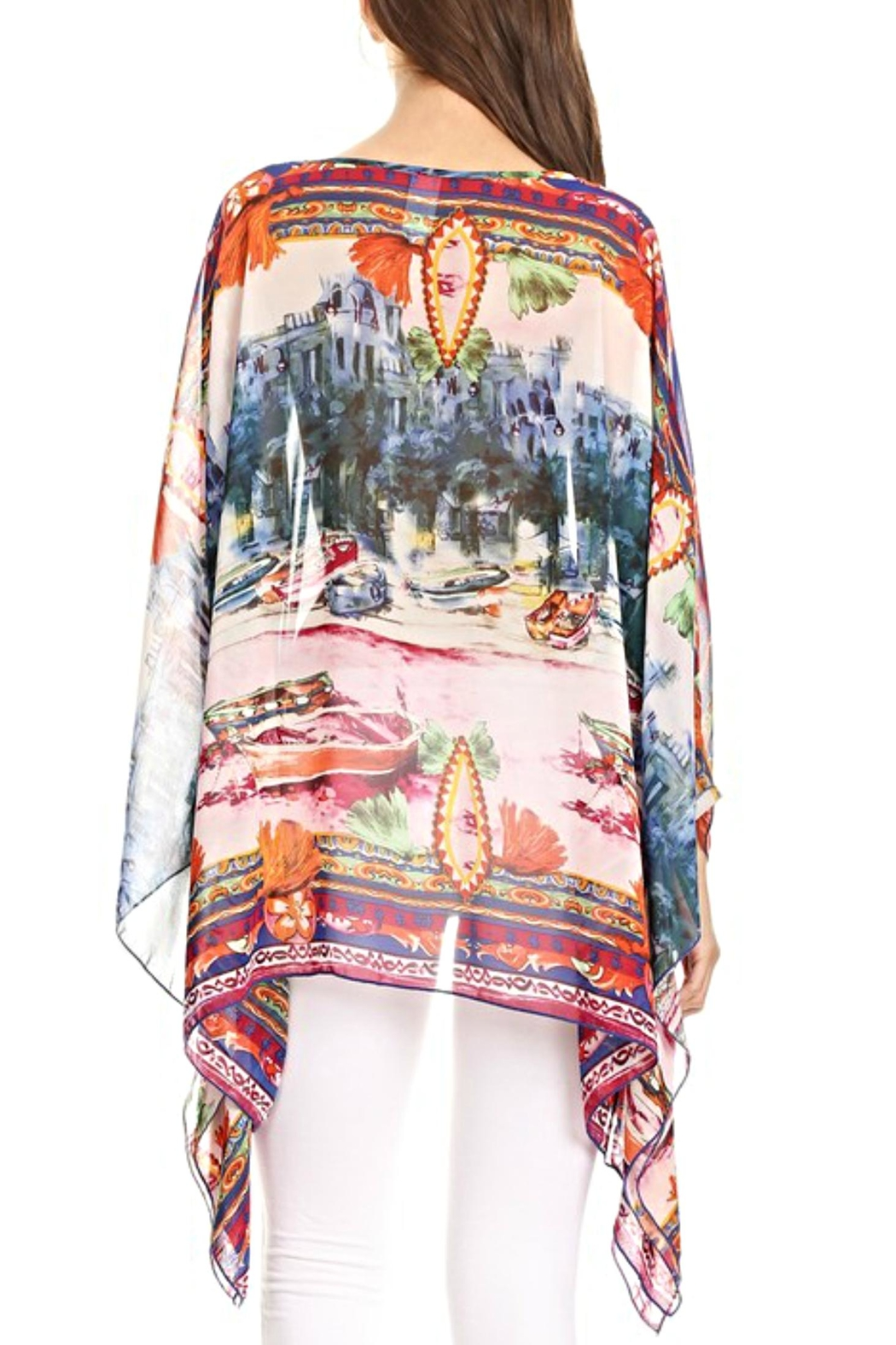 fashion 123 European Scenic Poncho Top - Front Full Image