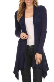 fashion 123 Navy Assymetrical Cardigan - Product Mini Image