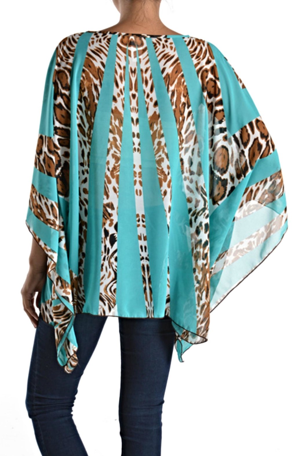 fashion 123 Silky Pattern Poncho Top - Front Full Image