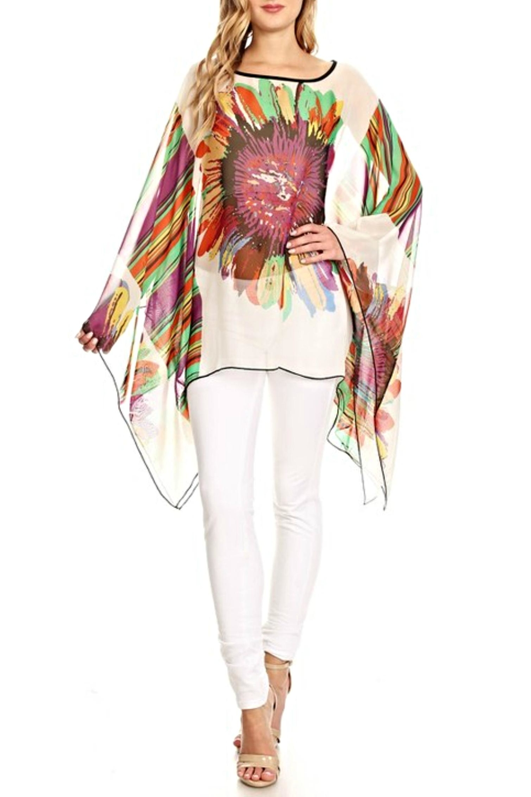 fashion 123 Superflower Power Poncho - Front Cropped Image
