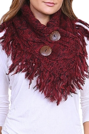 Fashion Bella Button Accent Fringed-Scarf - Product Mini Image