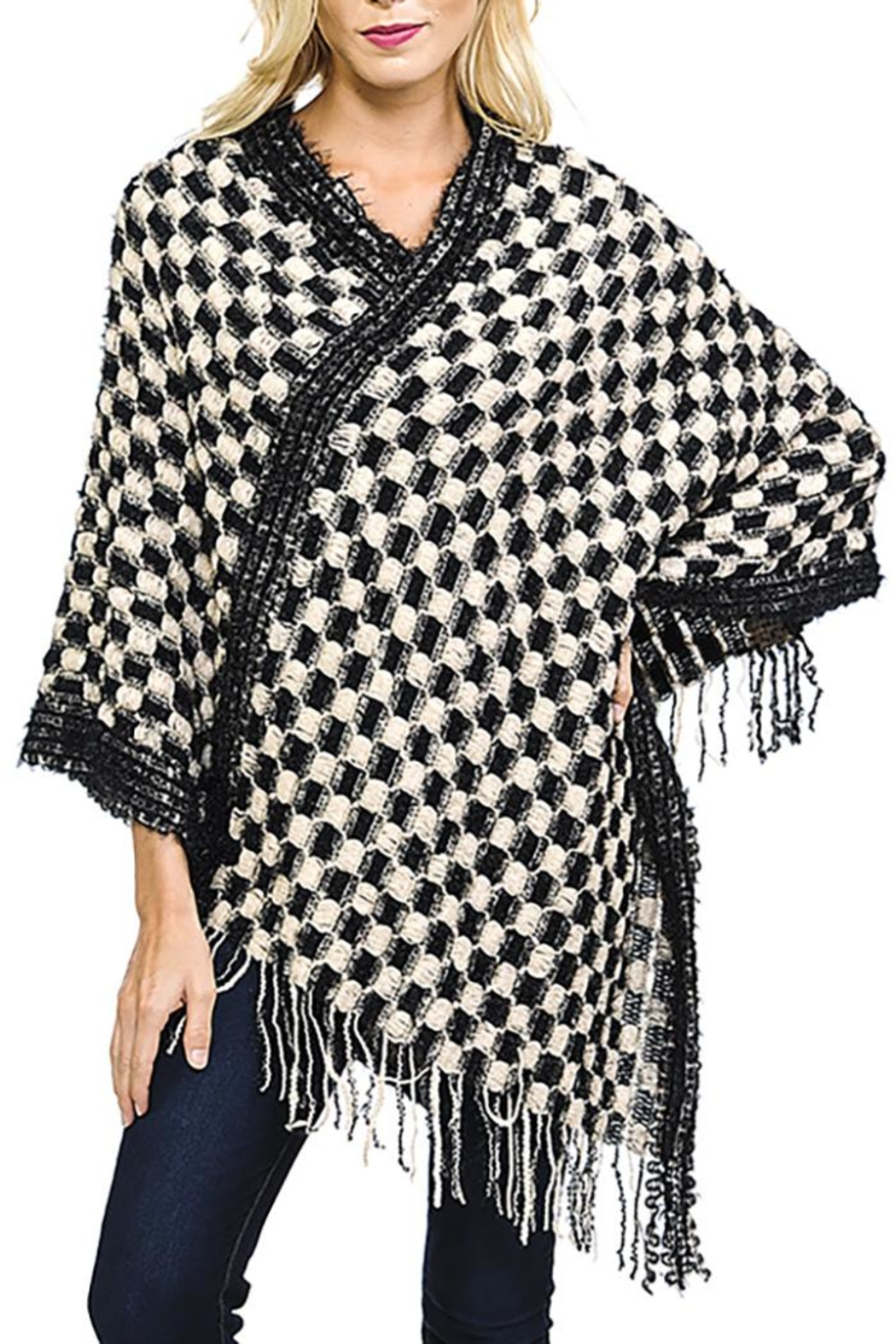 Fashion Bella Check Knit Scarf-Poncho - Main Image