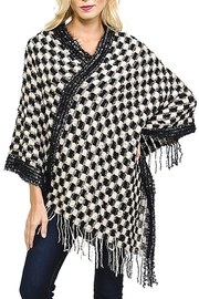Fashion Bella Check Knit Scarf-Poncho - Front cropped