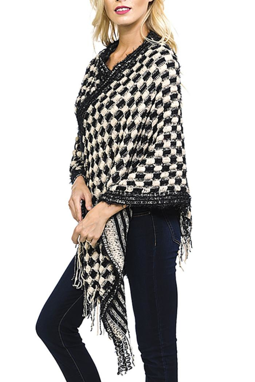 Fashion Bella Check Knit Scarf-Poncho - Front Full Image