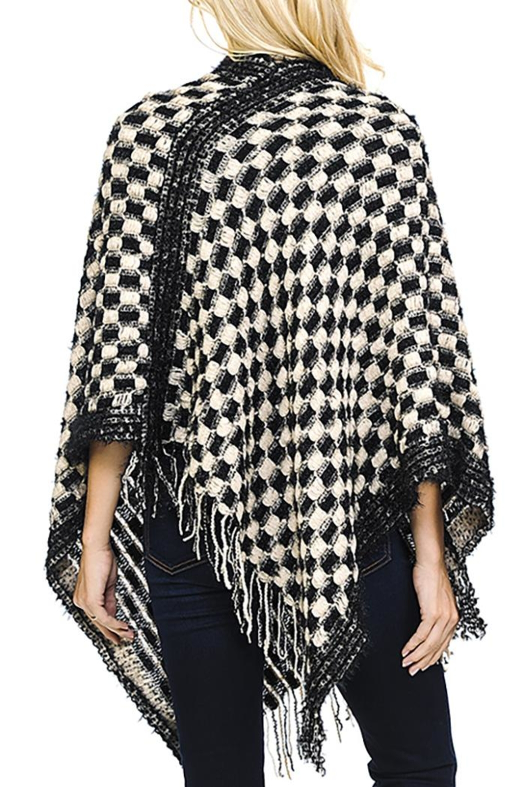 Fashion Bella Check Knit Scarf-Poncho - Side Cropped Image