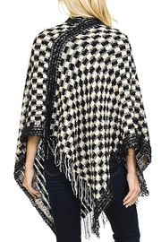 Fashion Bella Check Knit Scarf-Poncho - Side cropped