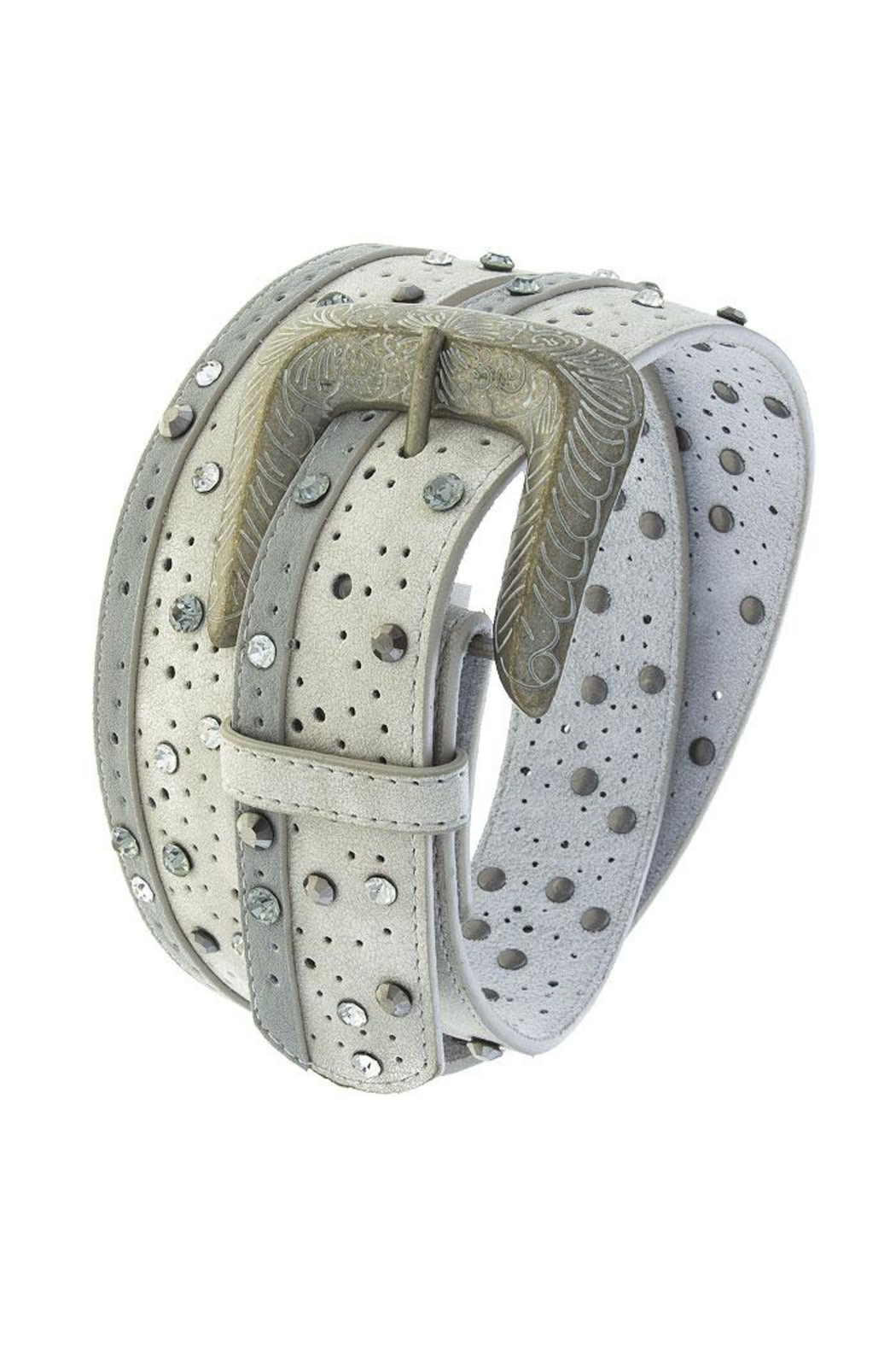 Fashion Bella Crystal Dotted Leather-Belt - Front Cropped Image