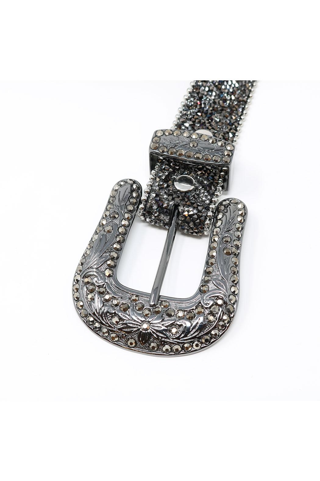 Fashion Bella Crystal Encrusted Leather-Belt - Front Full Image