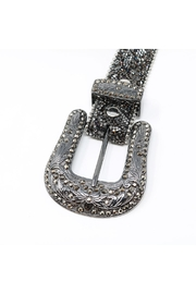 Fashion Bella Crystal Encrusted Leather-Belt - Front full body