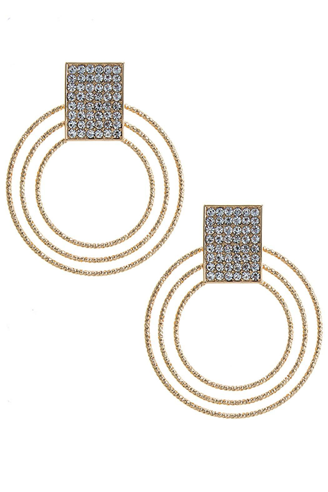 Fashion Bella Crystal Muti Hoop Earrings - Front Cropped Image