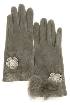 Shoptiques Product: Floral Accent Furry-Gloves