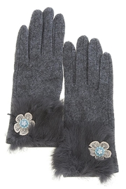Fashion Bella Floral Accent Furry-Gloves - Product Mini Image