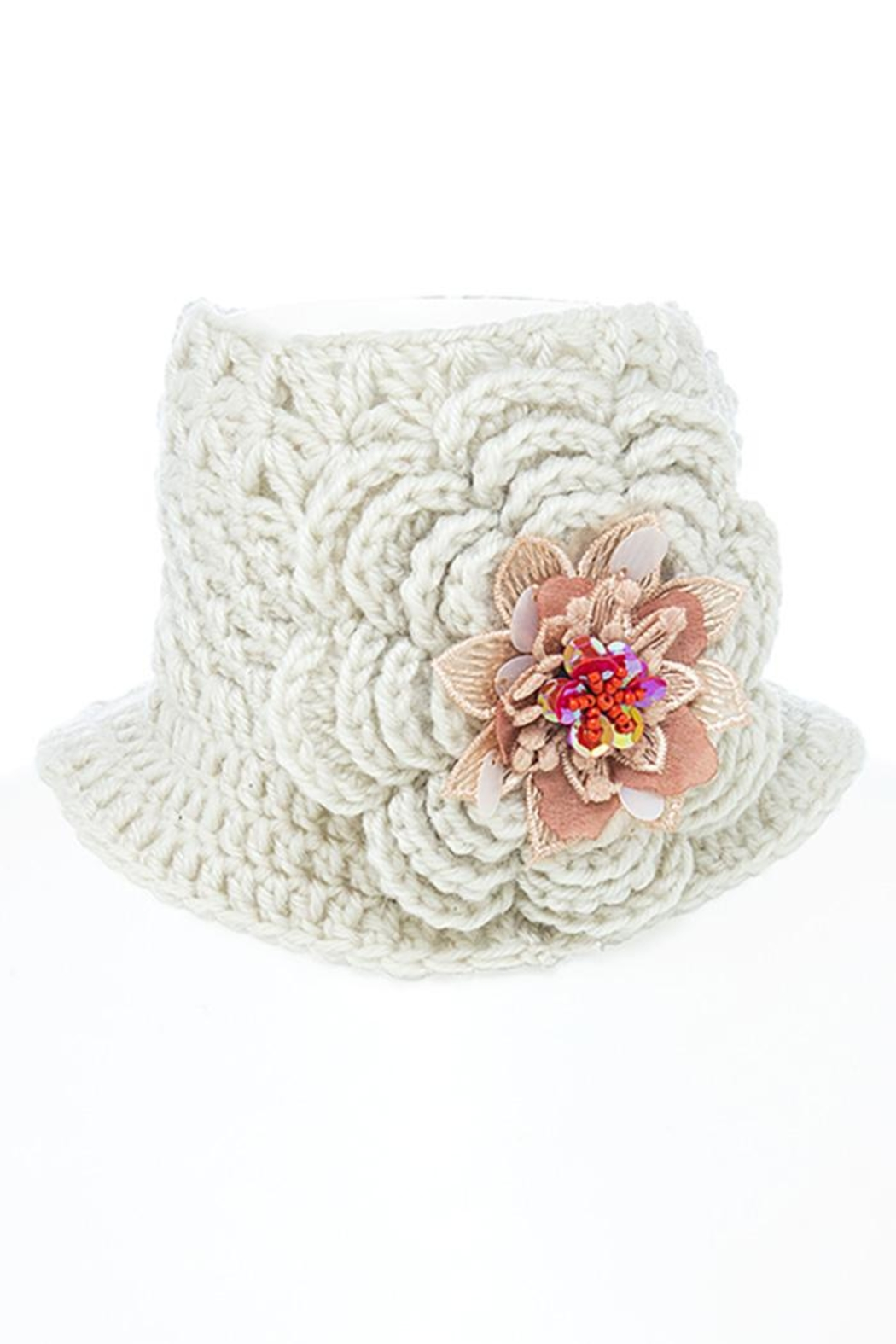 Fashion Bella Flower Knit Neck-Warmer - Back Cropped Image