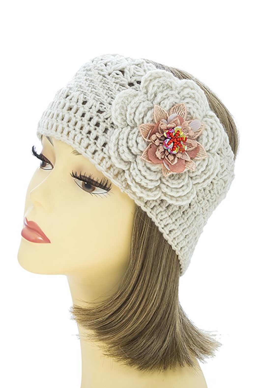 Fashion Bella Flower Knit Neck-Warmer - Front Cropped Image