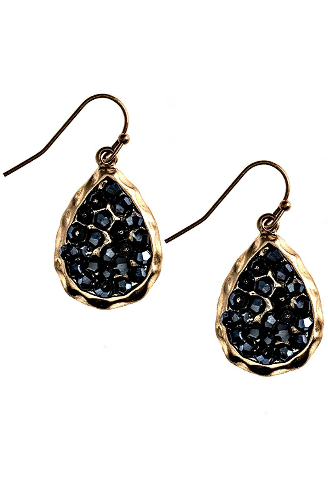 Fashion Bella Hematitie Crystal Teardrop Earrings - Main Image