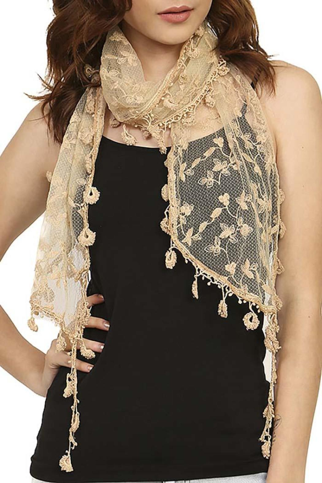 Fashion Bella Lace Floral Scarf - Front Cropped Image