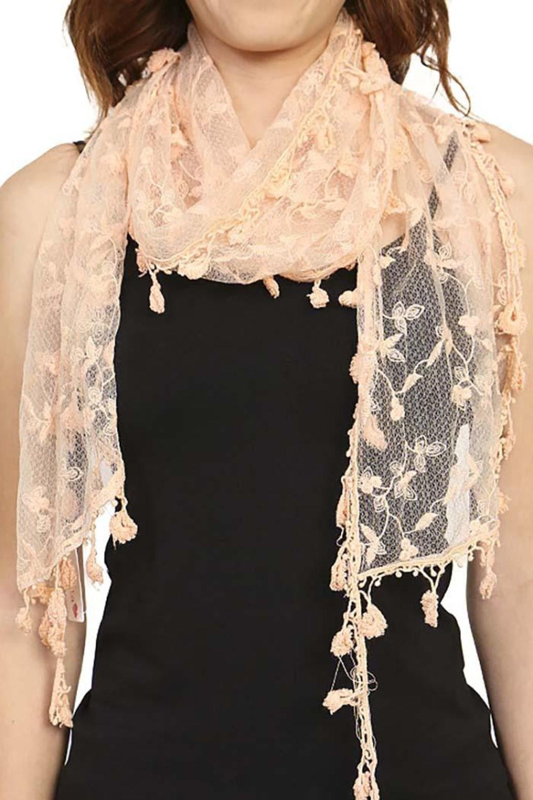 Fashion Bella Lace Floral Scarf - Front Full Image