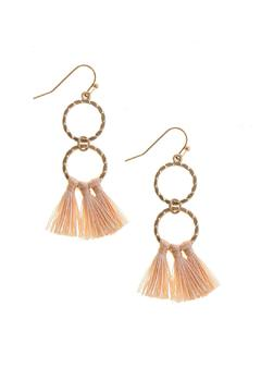 Shoptiques Product: Peach Tassel Earrings