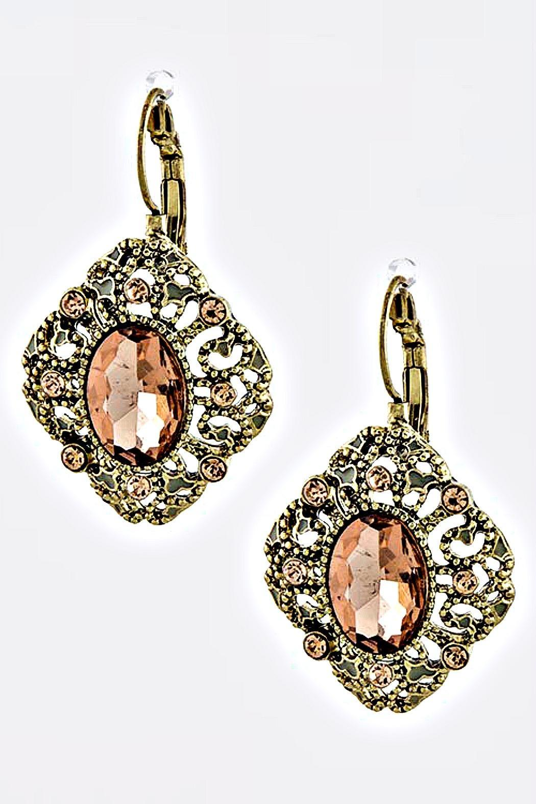 Fashion Bella Pink-Crystal Vintage Earrings - Main Image
