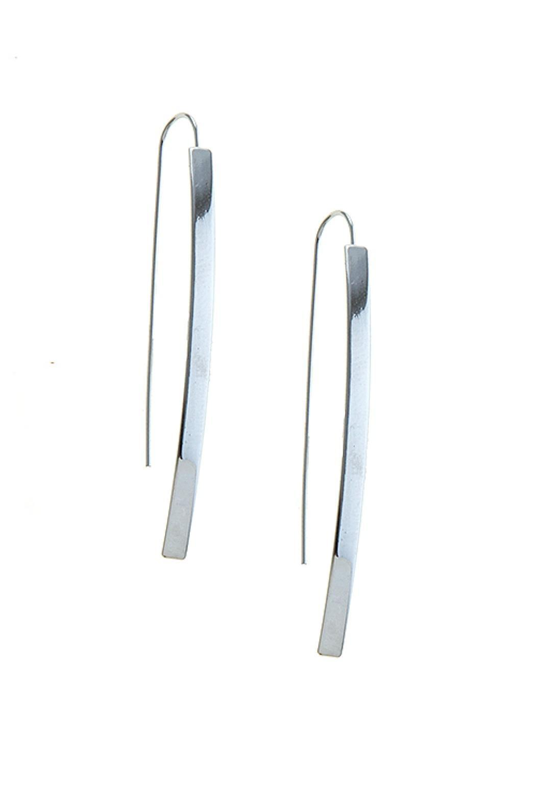 Fashion Bella Polished Curve Bar Earrings - Back Cropped Image