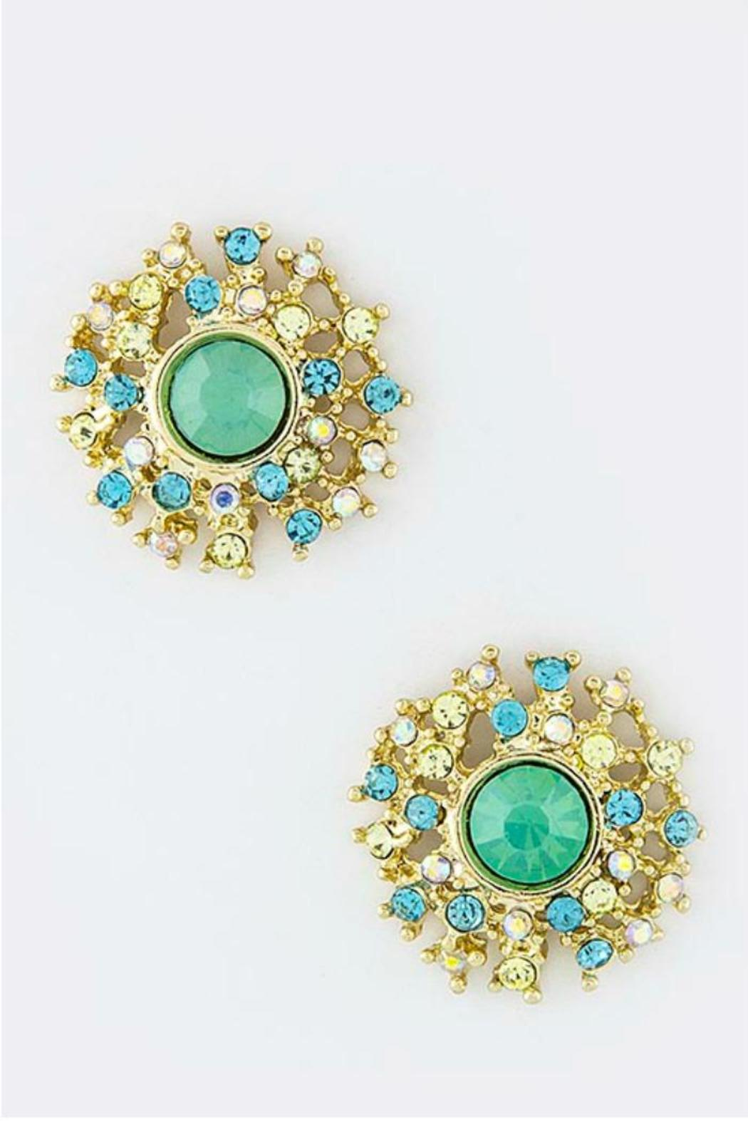 Fashion Bella Round Crystal Ear Studs - Main Image