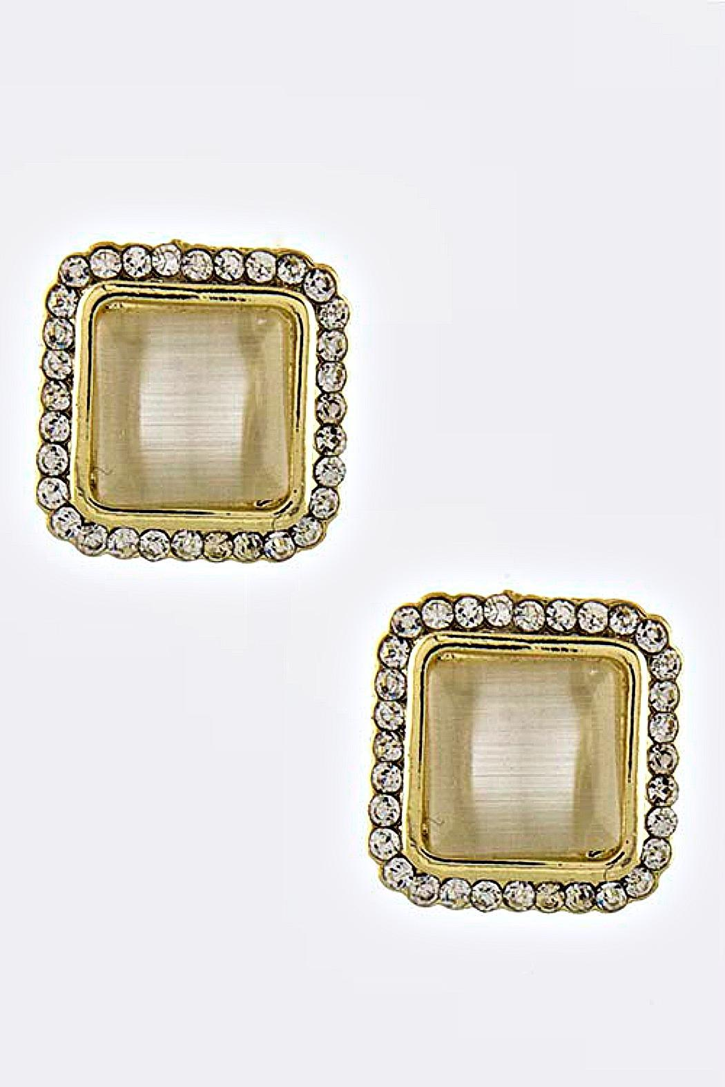 Fashion Bella Square Acrylic Stud Earrings - Front Cropped Image