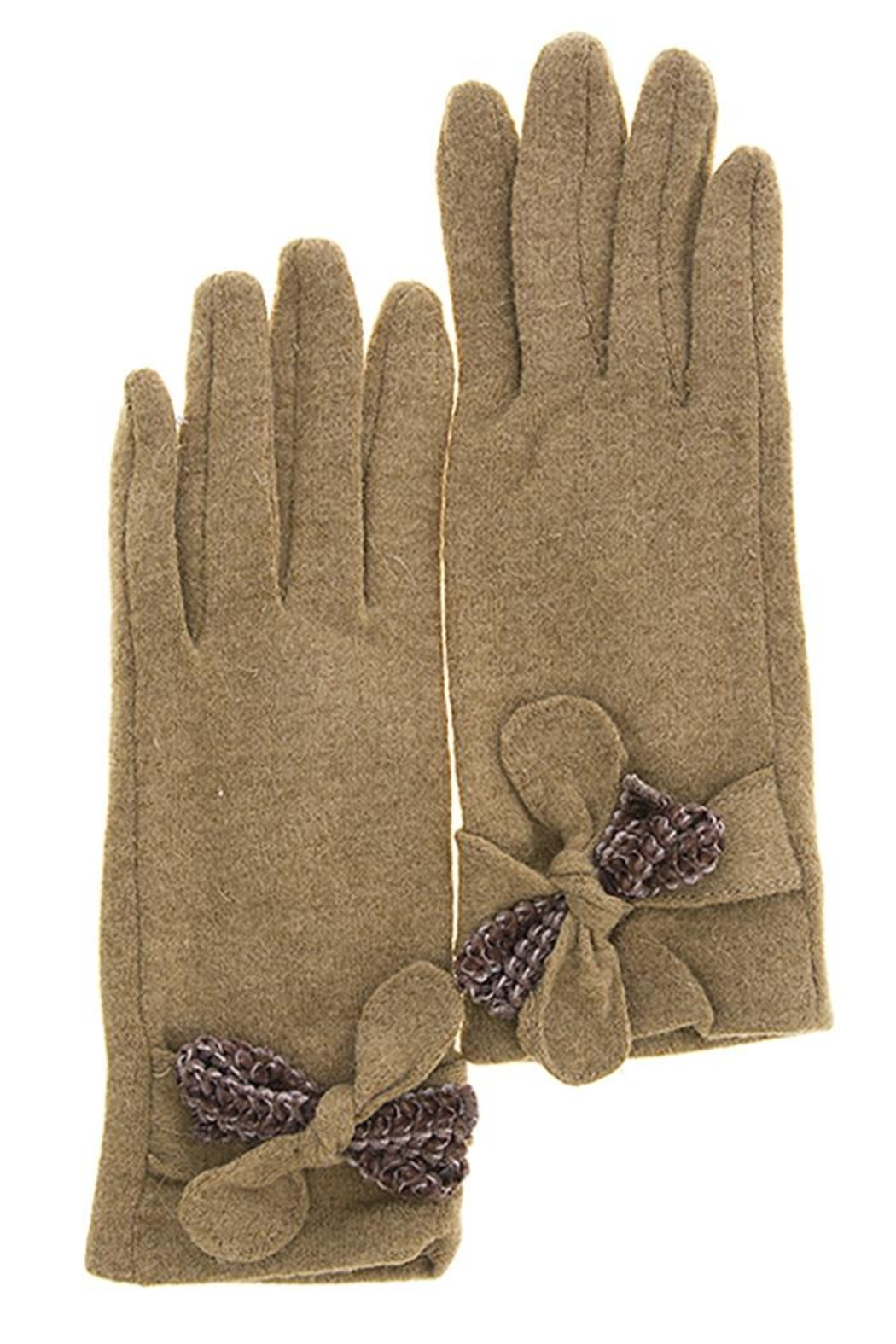 Fashion Bella Textured Bow Gloves - Front Cropped Image