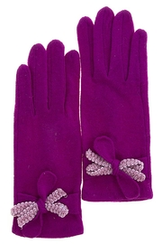Fashion Bella Textured Bow Gloves - Product Mini Image