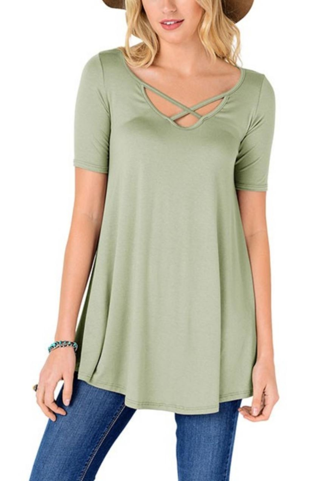 Fashion Corner Criss Cross Scoop Top - Main Image