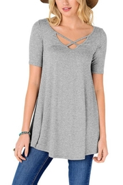 Fashion Corner Criss Cross Scoop Top - Front cropped