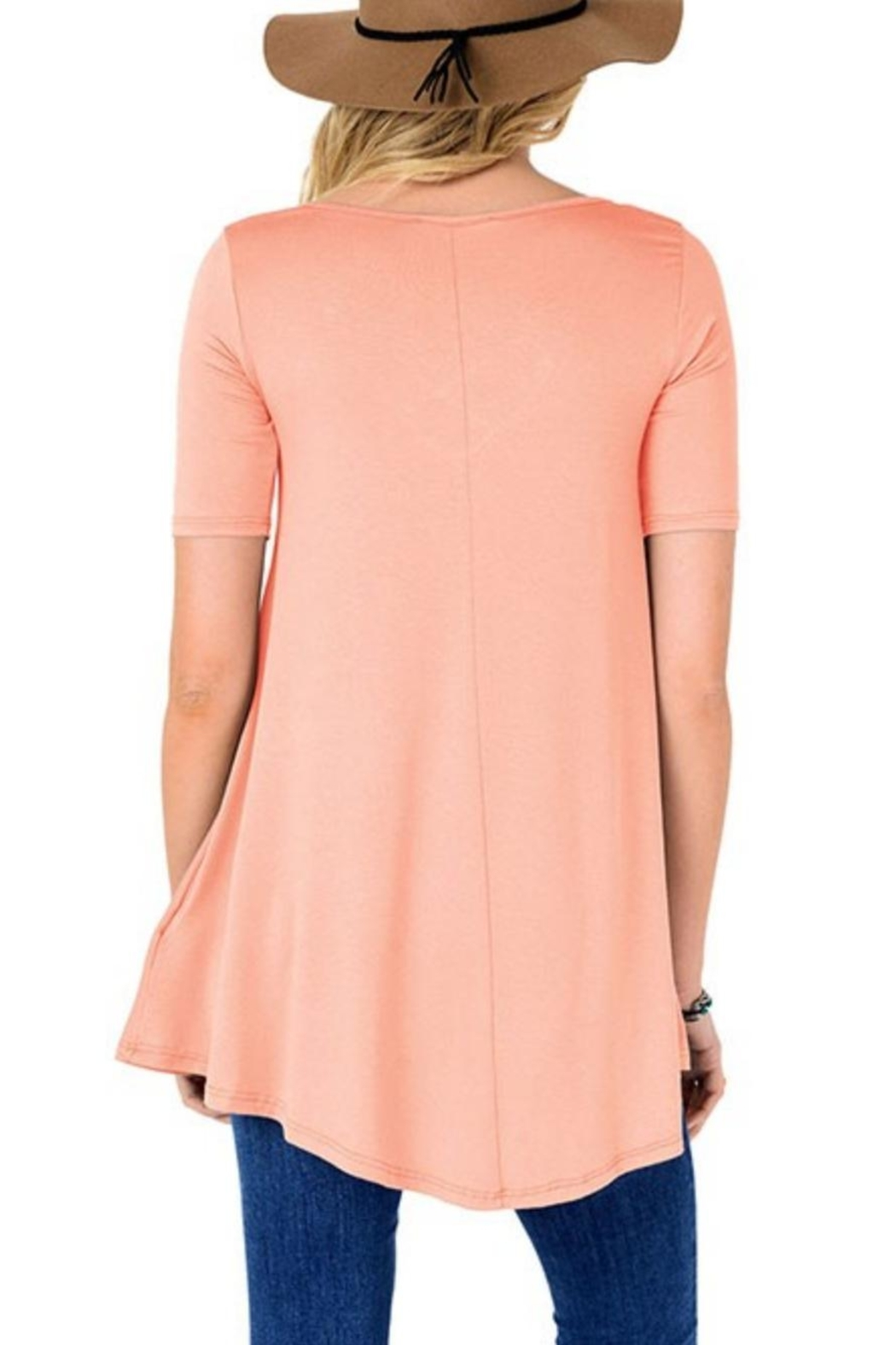 Fashion Corner Criss Cross Scoop Top - Front Full Image